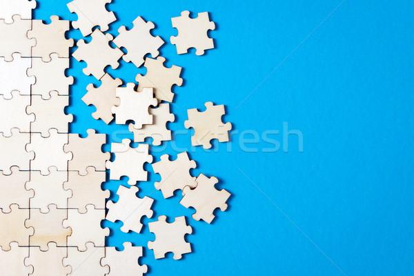 синий белый головоломки место древесины Сток-фото © kenishirotie