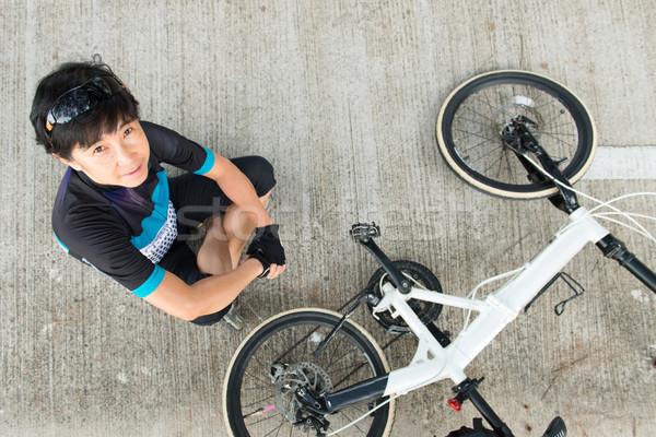 Senior asian vrouw paardrijden fiets blijde Stockfoto © kenishirotie