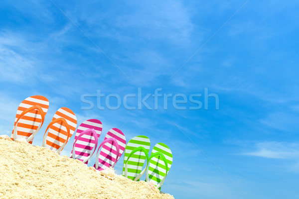 Estate spiaggia fila cielo blu sole Foto d'archivio © kenishirotie