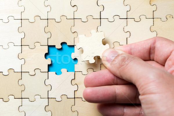 Letzte Stück Puzzle Holz Puzzle Stock foto © kenishirotie