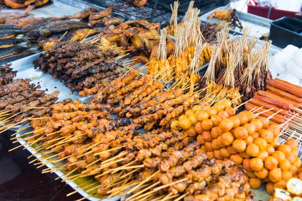 Asia barbacoa alimentos variedad estilo palo Foto stock © kenishirotie