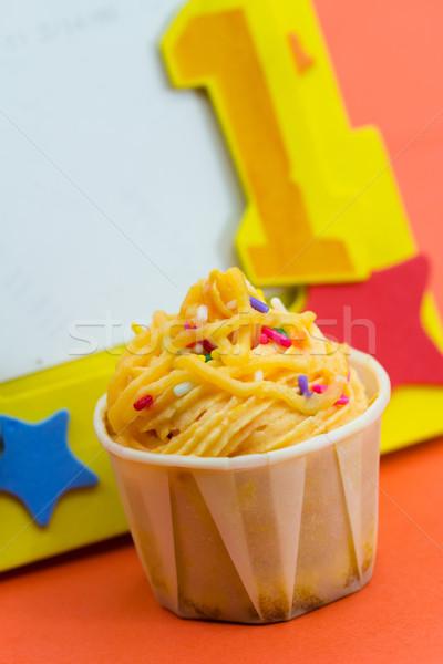 1 éves születésnap minitorta díszített citromsárga keret Stock fotó © kenishirotie