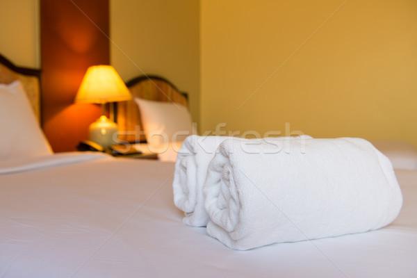 Clean asciugamani bianco letto selezionato focus Foto d'archivio © kenishirotie