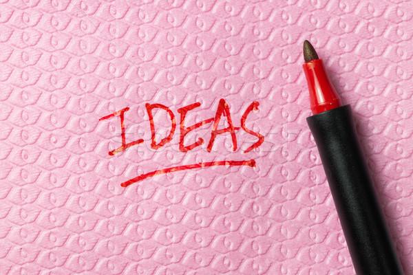 Ideeën woord geschreven servet Rood pen Stockfoto © kenishirotie