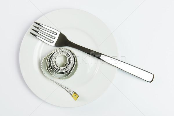 Photo stock: Régime · alimentaire · bande · fourche · plaque · résumé · santé