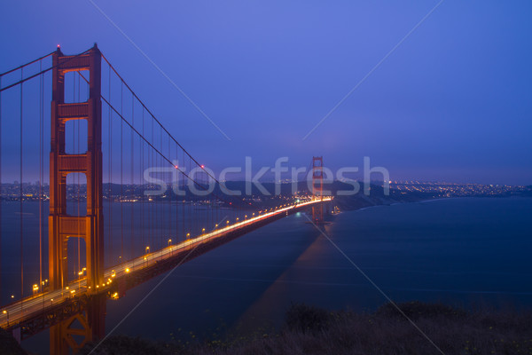 Golden Gate Bridge cena noturna pôr do sol noite luzes San Francisco Foto stock © kenishirotie