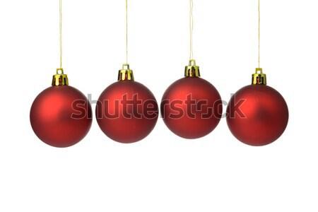 Rood christmas opknoping string witte Stockfoto © kenishirotie