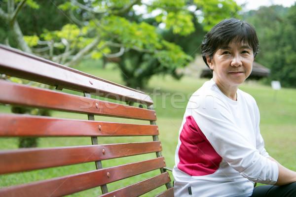 Senior asian vrouw park portret Stockfoto © kenishirotie
