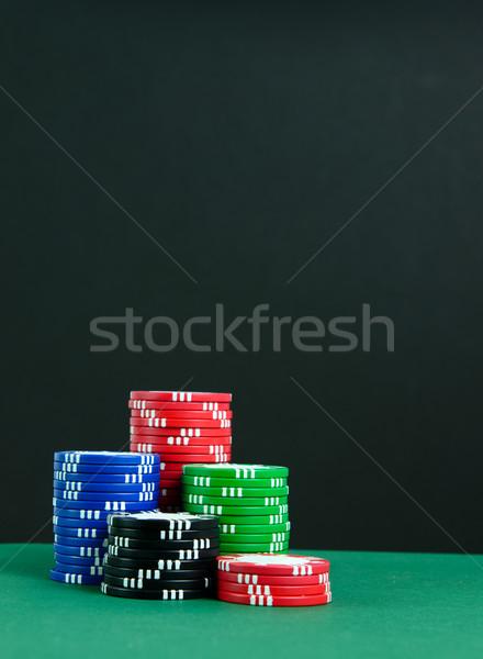 Poker chips kleurrijk gokken geld tabel Blauw Stockfoto © kenishirotie