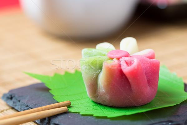 Japán hagyományos cukrászda torta felszolgált tányér Stock fotó © kenishirotie