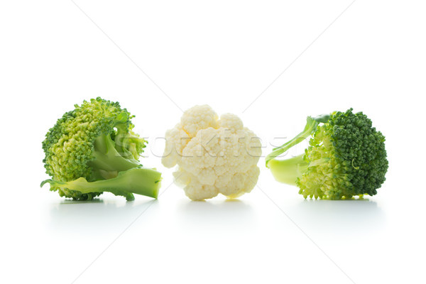 Broccoli and cauliflower isolated on white background Stock photo © kenishirotie
