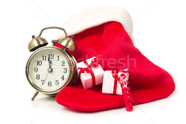 Natal contagem regressiva relógio vermelho meia caixas de presente Foto stock © kenishirotie