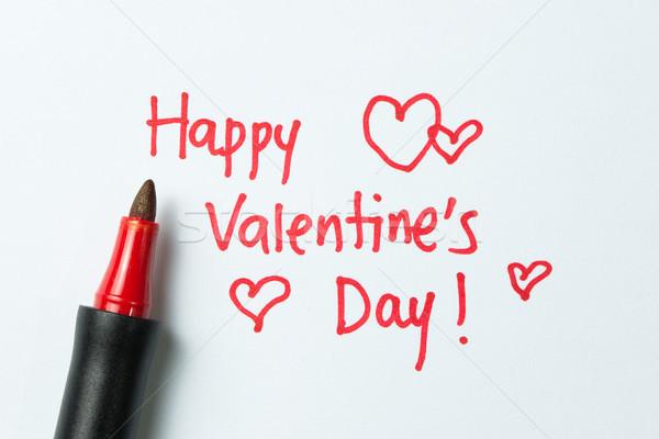 счастливым написанный белый бумаги красный Сток-фото © kenishirotie