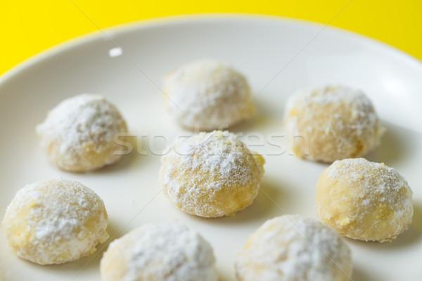 Hausgemachte Schnee Ball Cookie Cookies bereit Stock foto © kenishirotie