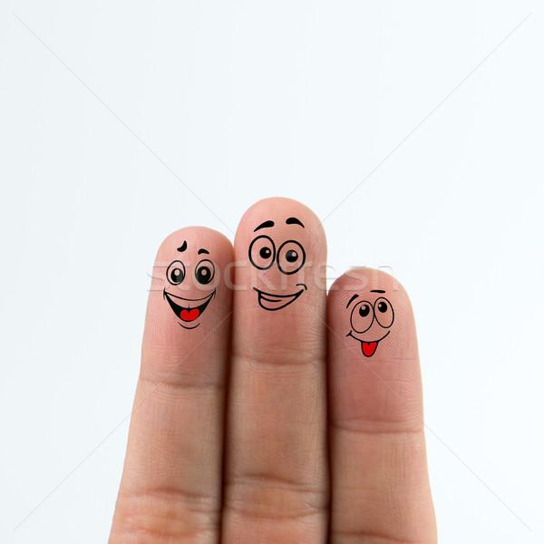 幸せ 指 幸せな家族 孤立した 白 家族 ストックフォト © kenishirotie