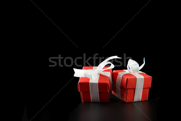 Rojo cajas de regalo dos aislado negro boda Foto stock © kenishirotie