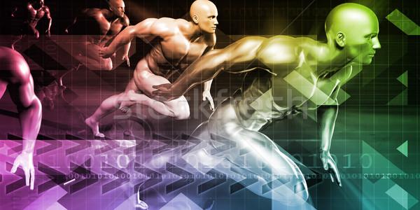 Férfiak fut technológia háttér sportok verseny Stock fotó © kentoh