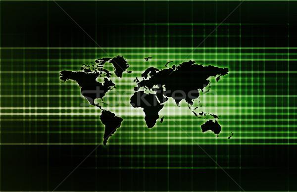 ストックフォト: 世界的な · サポート · ネットワーク · 地図 · 背景