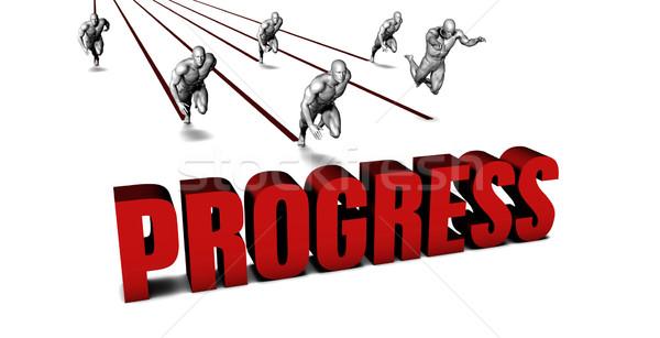Más progreso equipo de negocios carreras negocios hombres Foto stock © kentoh