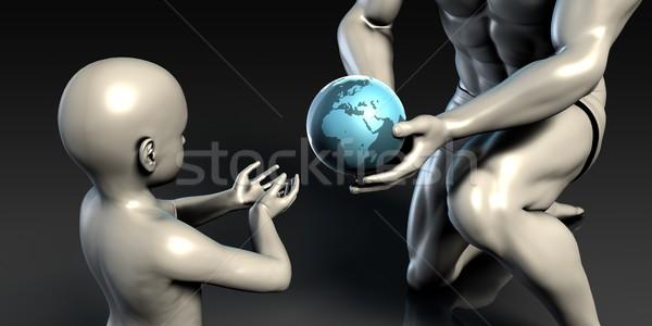 Baba oğul toprak dünya gezegen birlikte Stok fotoğraf © kentoh