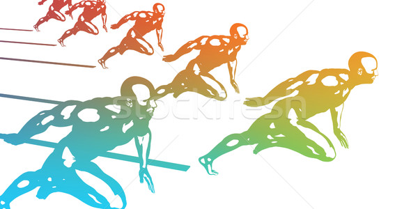 Kardio edzés sportolók fut gyors absztrakt Stock fotó © kentoh
