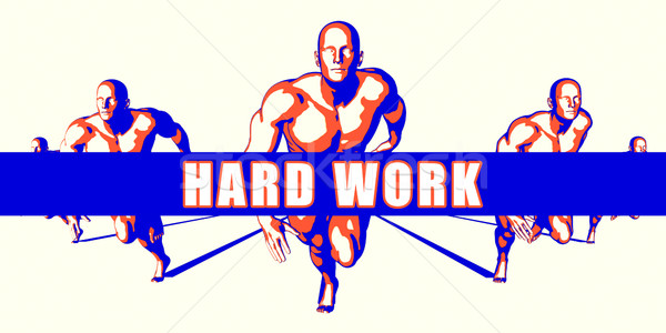 Trabalho duro competição ilustração arte laranja homens Foto stock © kentoh