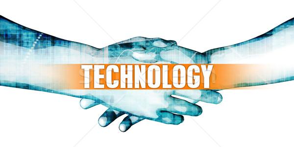 Tecnología empresarios apretón de manos blanco manos fondo Foto stock © kentoh