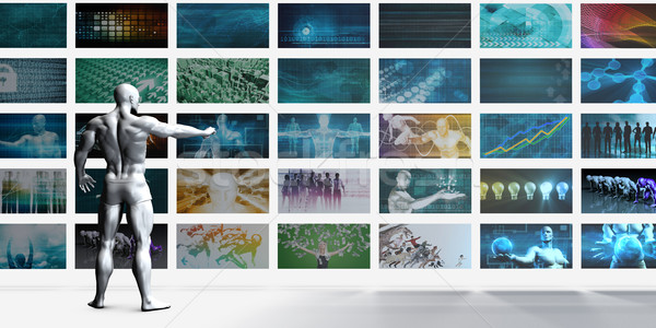 Videofal fehér személy üzlet fal ipar Stock fotó © kentoh