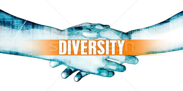 Diversidad empresarios apretón de manos blanco negocios resumen Foto stock © kentoh