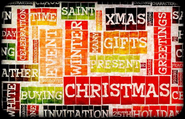 ストックフォト: クリスマス · 創造 · スタイリッシュ · 言葉 · 芸術 · ツリー