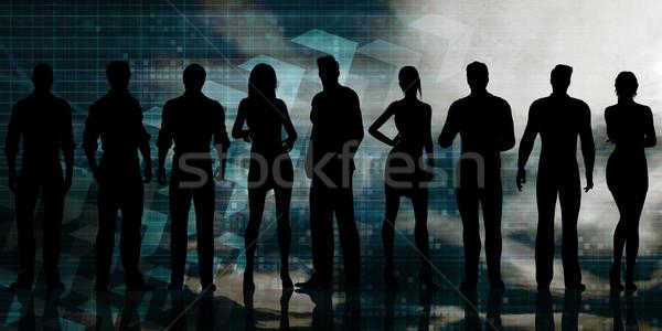 футуристический технологий команда сеть костюм корпоративного Сток-фото © kentoh