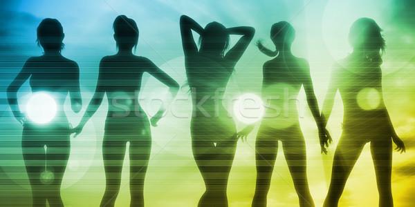 Stockfoto: Vakantie · leuk · dames · vrouw · strand · muziek