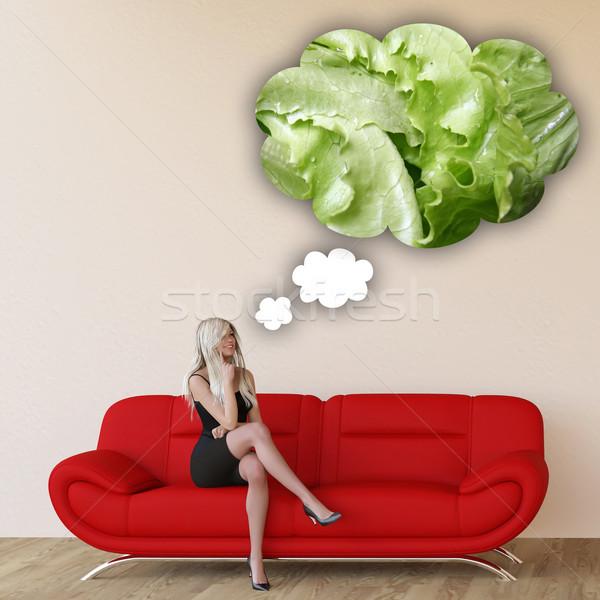 Vrouw hunkering sla denken eten voedsel Stockfoto © kentoh