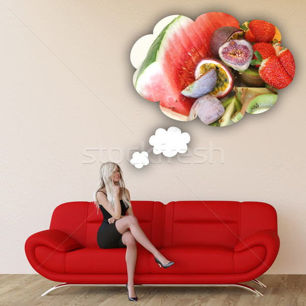 Woman Craving Tropical Fruits Stock photo © kentoh