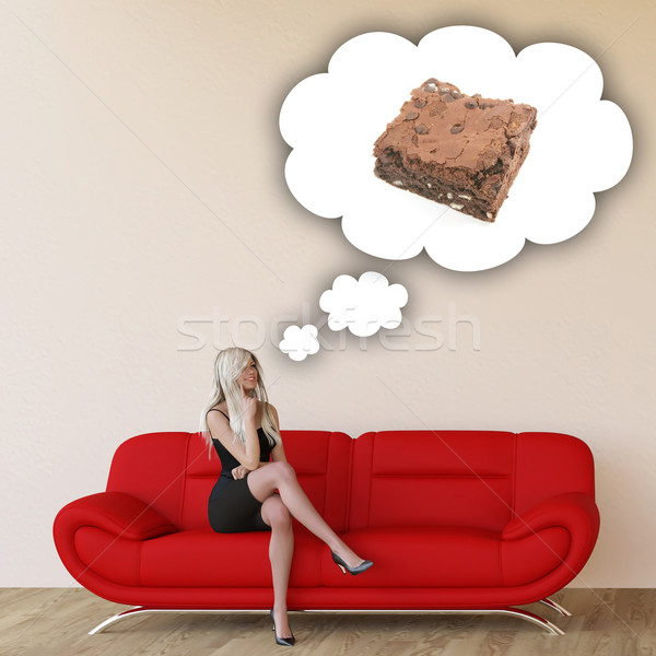 Woman Craving Brownie Stock photo © kentoh