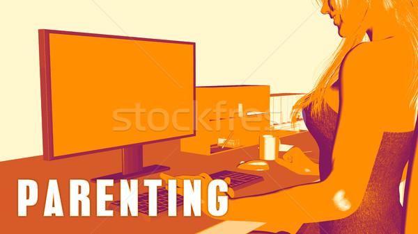 Crianza de los hijos mujer mirando ordenador negocios aula Foto stock © kentoh