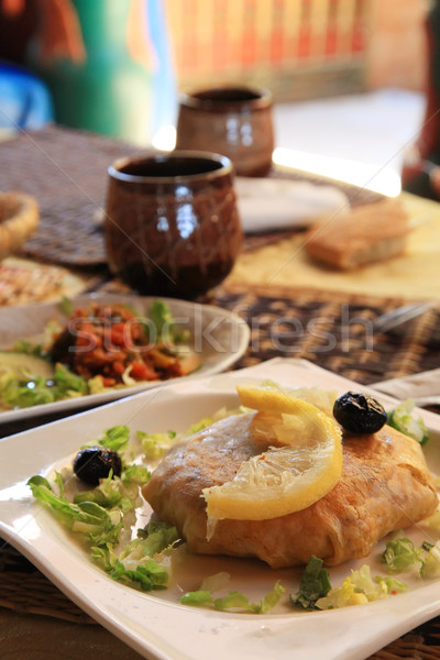 Marrocos popular prato frango fresco africano Foto stock © kentoh