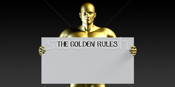 Gouden reglement man poster Stockfoto © kentoh