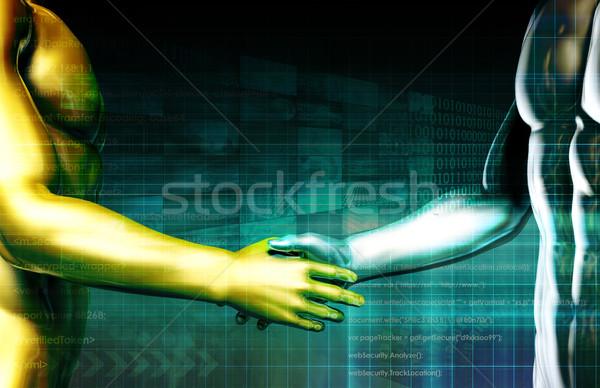 Bütünleşme teknoloji el sıkışma bilim iletişim gelecek Stok fotoğraf © kentoh