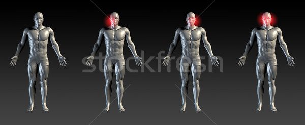 Twarz szkoda czerwony poświata medycznych sportowe Zdjęcia stock © kentoh