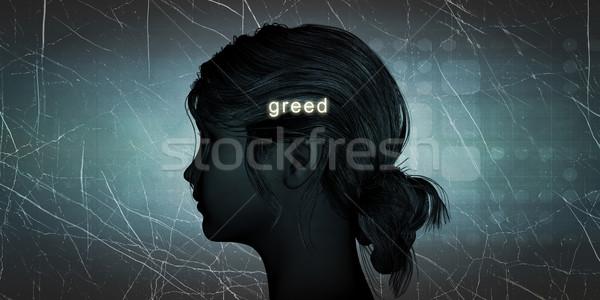 Nő szemben kapzsiság személyes kihívás kék Stock fotó © kentoh