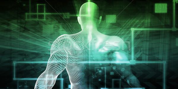 Digitális technológia humanoid internet absztrakt háttér jövő Stock fotó © kentoh