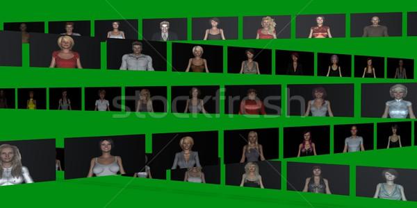 Videofal emberek fal lányok ipar képernyő Stock fotó © kentoh