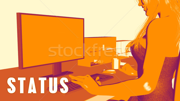 Estado mujer mirando ordenador negocios aula Foto stock © kentoh