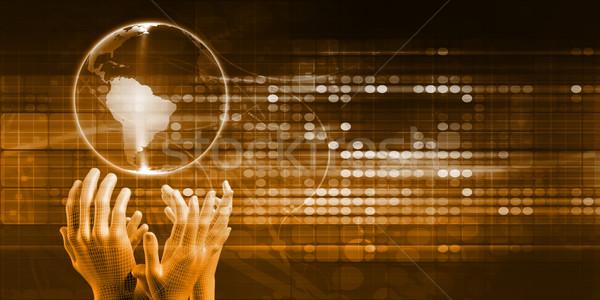 глобальный распределение рук мира технологий успех Сток-фото © kentoh