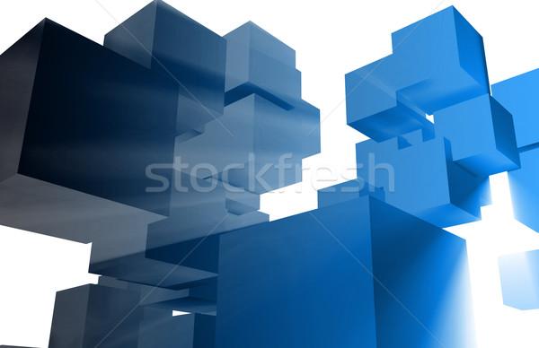 3D business leiderschap abstract technologie kleur Stockfoto © kentoh