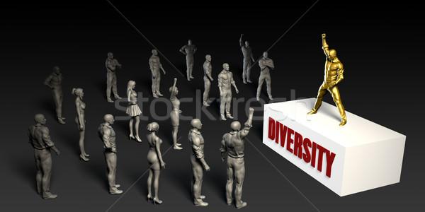 çeşitlilik kavga kadın kalabalık erkekler siyah Stok fotoğraf © kentoh