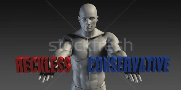 保守的な 選択 異なる 青 赤 ストックフォト © kentoh