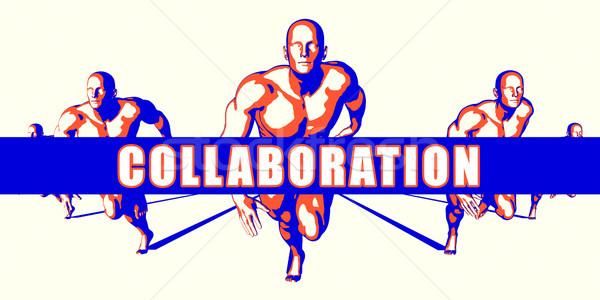 Collaborazione concorrenza illustrazione arte sfondo arancione Foto d'archivio © kentoh