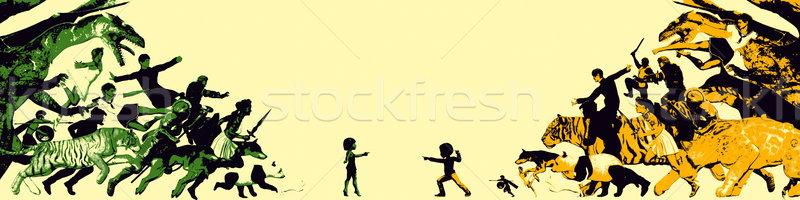 Infância memórias imaginário amigo crianças menina Foto stock © kentoh